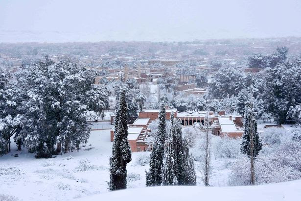 Snowfall in the Sahara Desert town of Ain Sefra