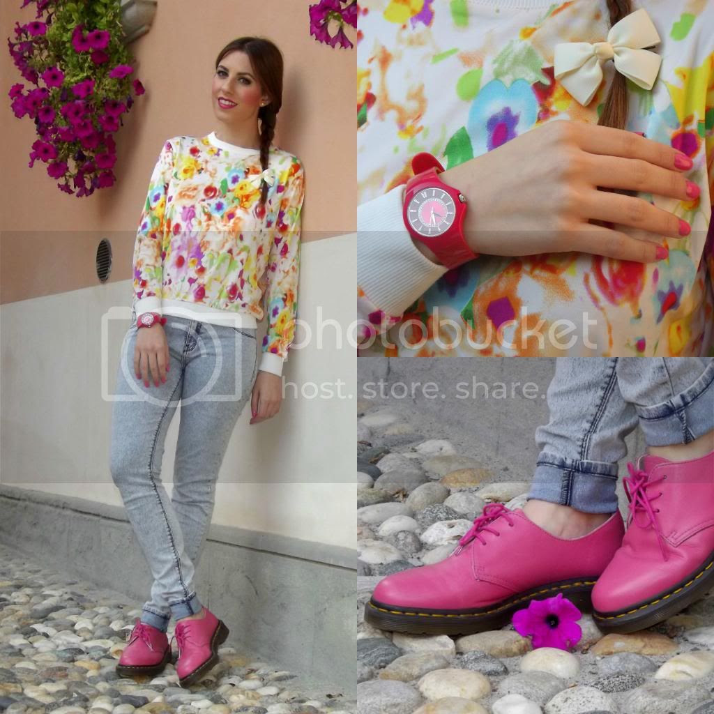How to style dr. Martens - Dr. Martens 1461 Raspberry - Choies Floral Sweater Zara Wash out Jeggins Morellato watch
