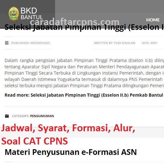 Jadwal Pendaftaran CPNS Kabupaten Bantul 2021 Lulusan SMA ...