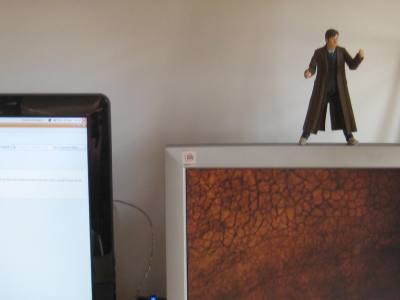 The tenth doctor inspects my new dual screen setup