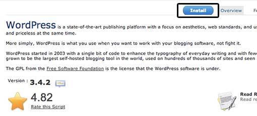 Softaculous WordPress Install Button