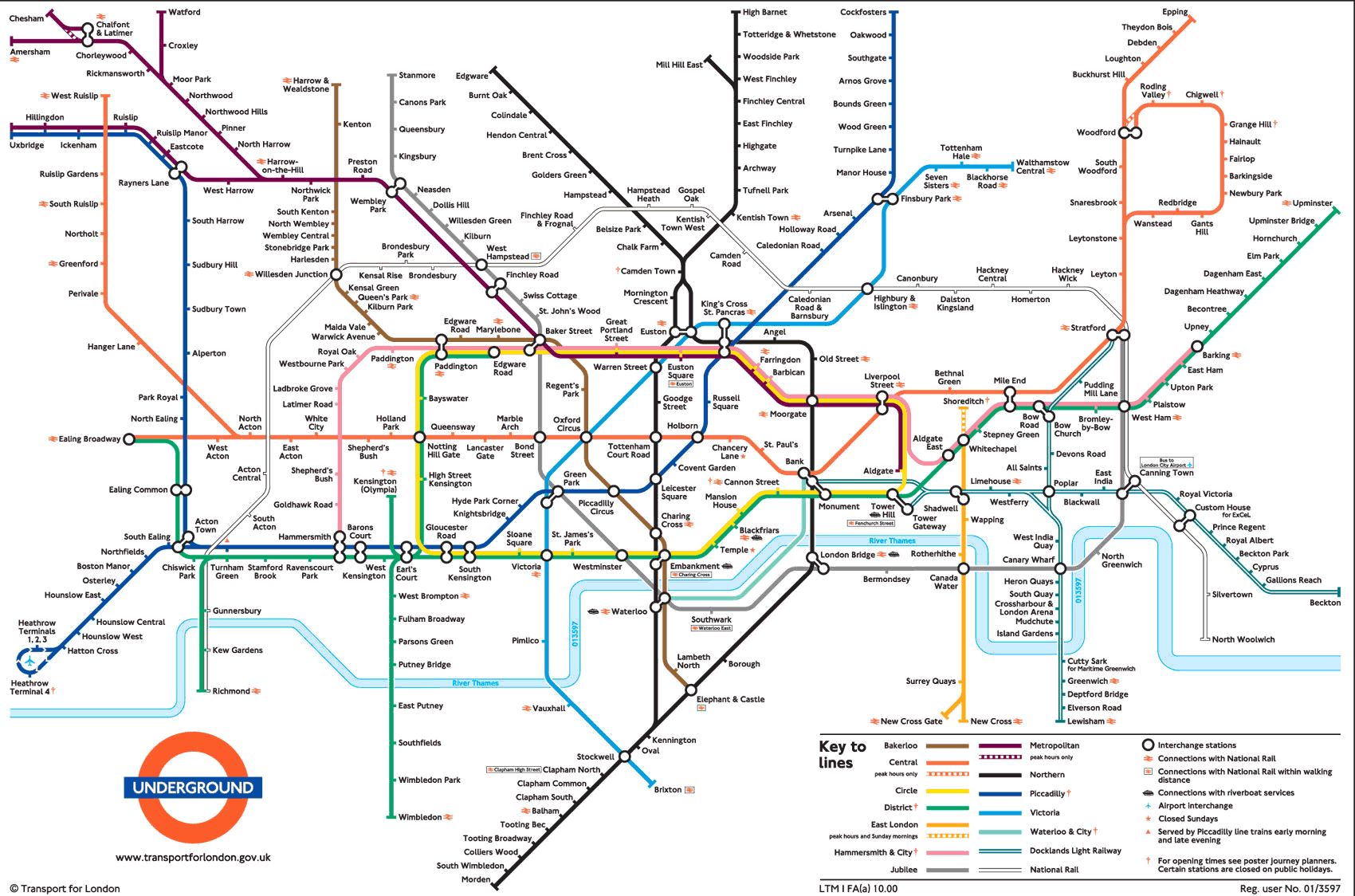 Large view of the standard London Underground map - This is ...