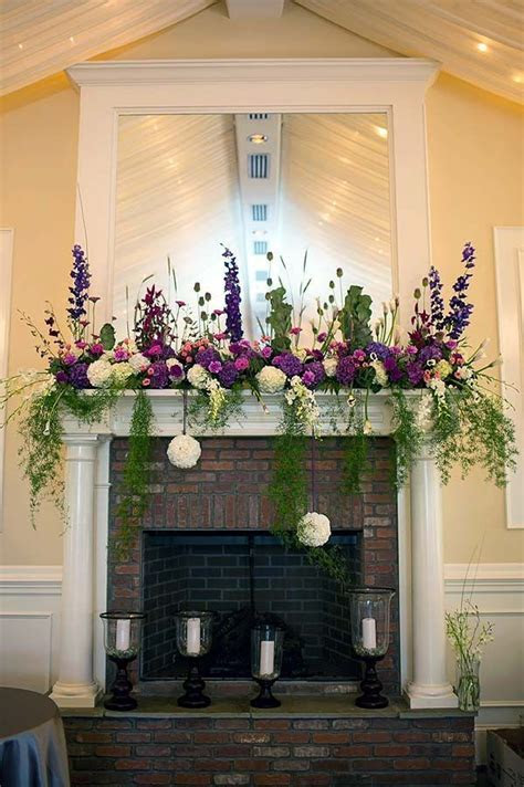 Blossom Artistry, Fireplace mantle decorated with purple
