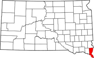 Map of South Dakota highlighting Union County