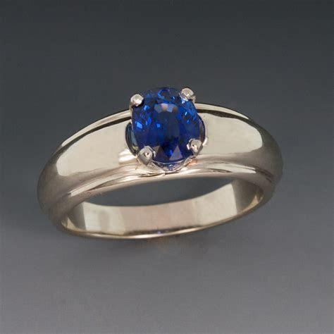 14K White Gold Ring w/Blue Sapphire