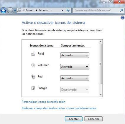 Cómo Activar o Desactivar iconos ocultos del sistema Windows 7