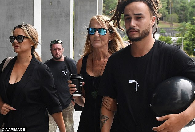 Natalie Hinton (centre), mother of murdered woman Tara Brown, arrives at court on Monday