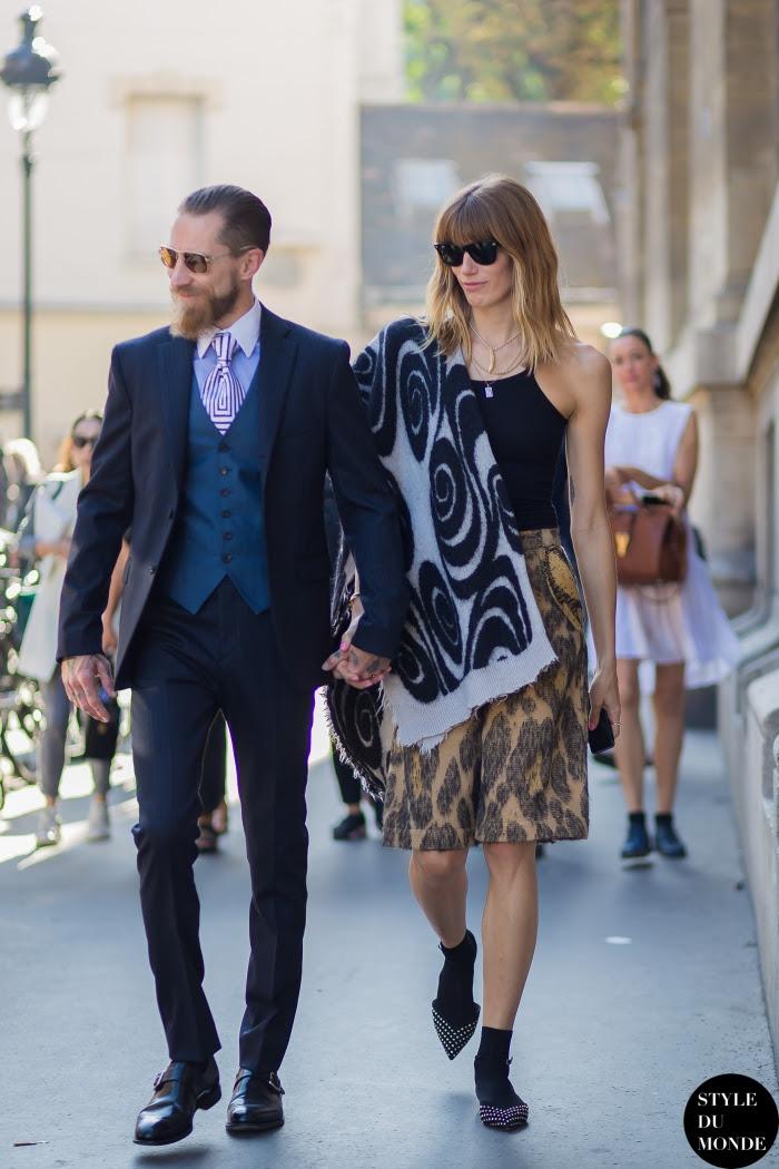 Veronika Heilbrunner and Justin O'Shea Street Style Street Fashion Streetsnaps by STYLEDUMONDE Street Style Fashion Blog