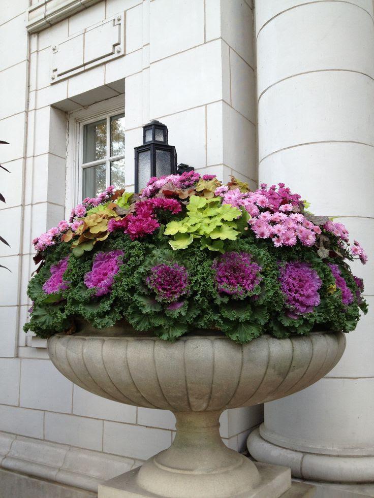 Beautiful fall urn. Downtown Chicago