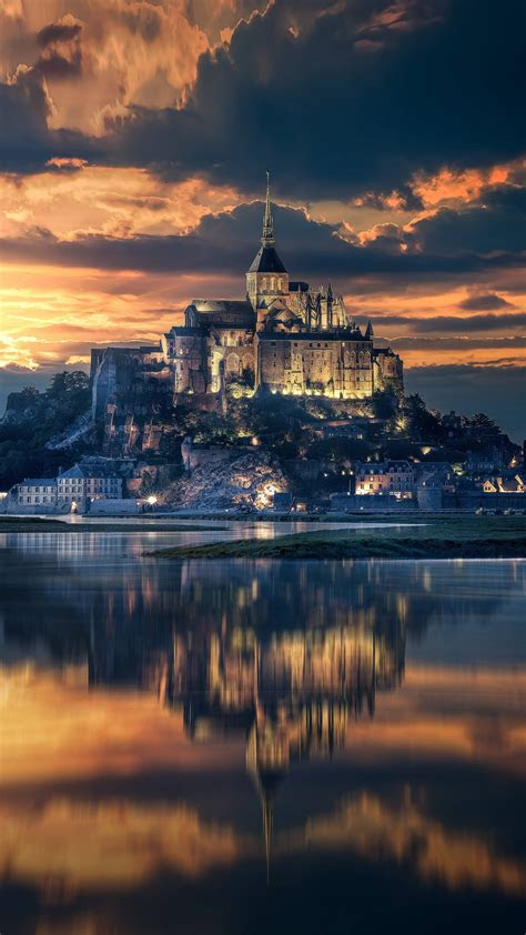 mont saint michel france sunset view  pure
