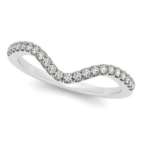 Semi Eternity Curved, Contour Diamond Wedding Band 14k W