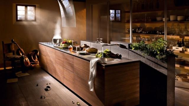 Minimalist Wooden Kitchen Artematica Noce Tattile by Valcucine
