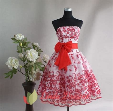 White And Red Flower Girl Dresses,Short White And Red