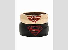 DC Comics Superman & Wonder Woman His & Hers Medium Ring Set   Hot Topic   Wonder woman