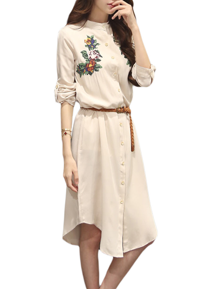 Belt Vintage Flower Embroidery Linen Stand Collar Button Women Dress