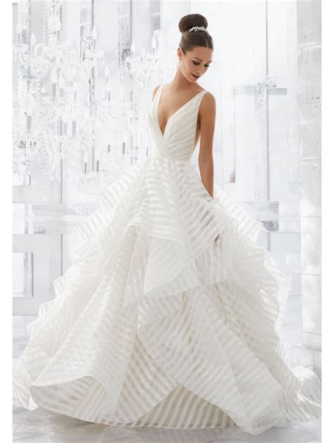 Mori Lee 5577 MILLY Striped Organza Light And Airy Gown