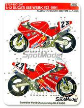 Calcas 1/12 Studio27 - Ducati 888 Dunlop - Nº 23 - Doug Polen - Campeonato del mundo de Superbikes 1991 para kit de Tamiya TAM12063