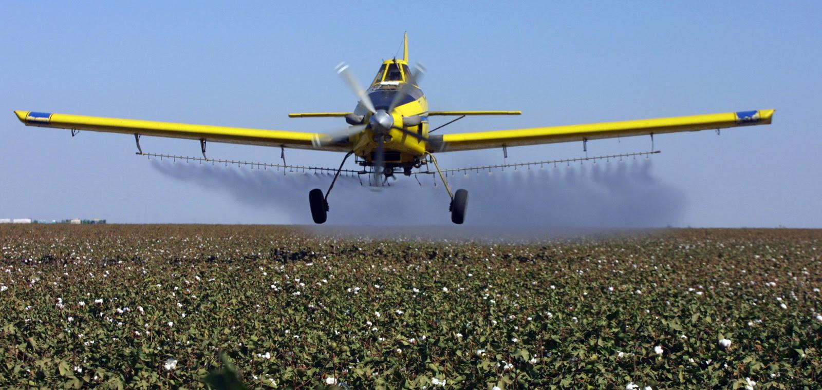 A crop dusting plane from Blair Air Service dusts cotton crops in Lemoore, Calif. (AP/Gary Kazanjian)