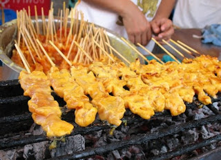 Satay sticks for sale at the Phuket Food festival in March 2008