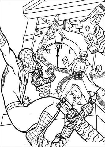 Dibujo De El Hombre Araña En Combate Para Colorear Dibujos Para
