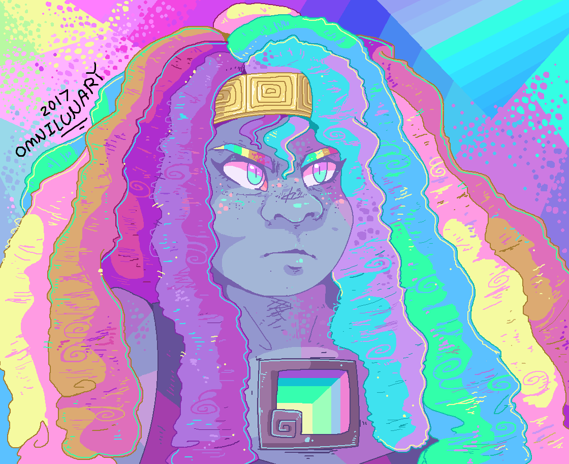 Messy MS paint doodle of Bismuth ✨ I just wanted to draw her colorful hair..