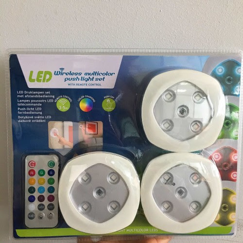 Wireless Multicolor Led Push Light Set With Remote Control Work