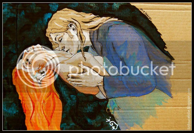 Les Amants the Lovers vampire baiser romantique romantisme gothique illustration dessin peinture carton amoureux sentualite sensuel