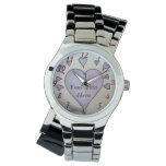 romantic purple love hearts original illustration watch