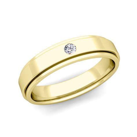 Solitaire Diamond Mens Wedding Ring in 18k Gold Comfort