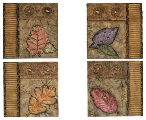Set of 4 Square Leaf Design Wall Decor - traditional - plants - by ...