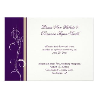 Purple Khaki Ivory Floral Swirl Post Wedding