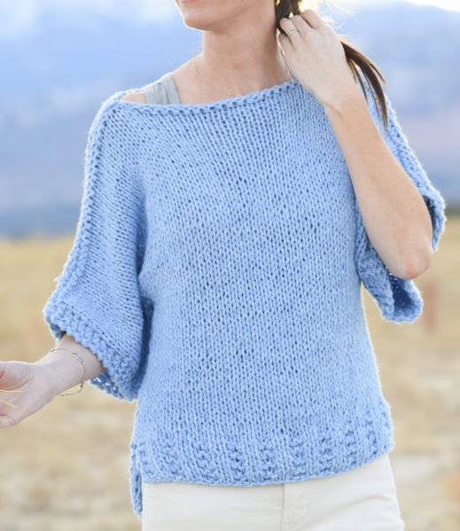 Free Knitting Pattern for Easy Quick Tee Pullover