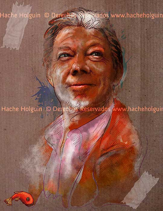 Retrato de Juan Manuel Santos por Hache Holguín