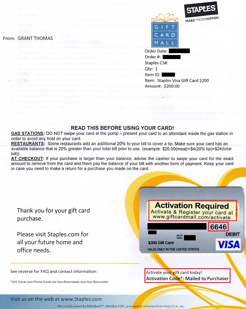 How to Activate Staples $14 Visa Gift Cards Without Activation Codes