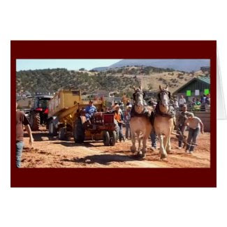 Tractor and Draft Horse Pull Greeting Cards