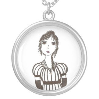Jane Austen stripe necklace