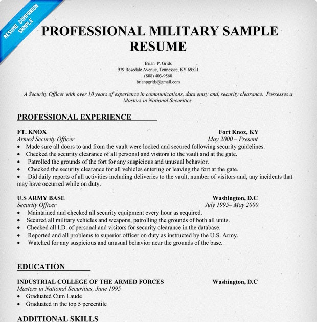 example resume example resume military