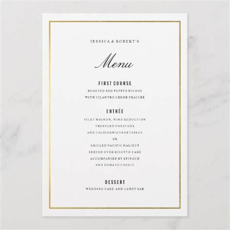 Gold Border Elegant Wedding Menu Card   Zazzle.co.uk