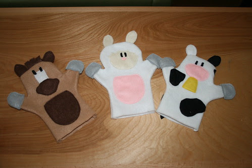 horse, sheep, cow puppets