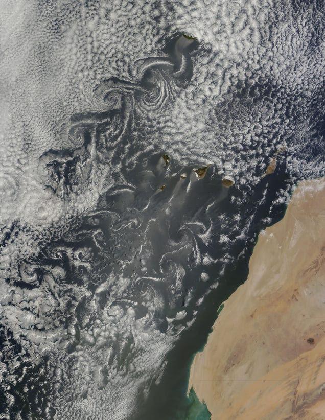 ¿Cómo se generan estos vórtices de Von Kármán sobre las Islas Canarias?