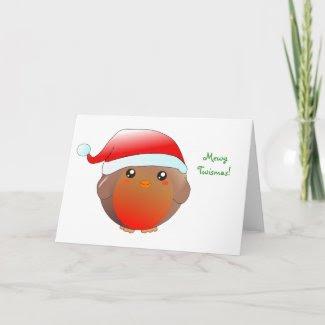 Cute kawaii Christmas Robin Card card