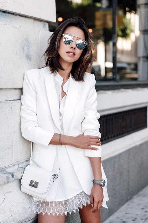 Le Fashion Blog Blogger Style Color Combo White And Silver Look Dior Sunglasses Blazer Shirt Mini Bag Lace Hem Skirt Via Viva Luxury