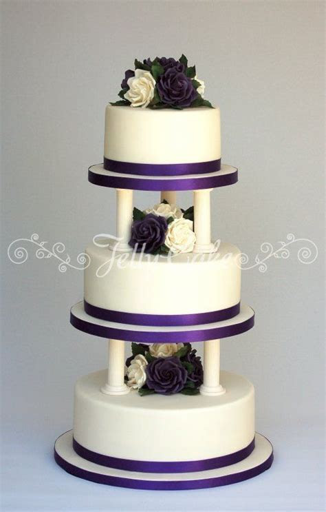 pillar wedding cakes   purple rose and pillars wedding