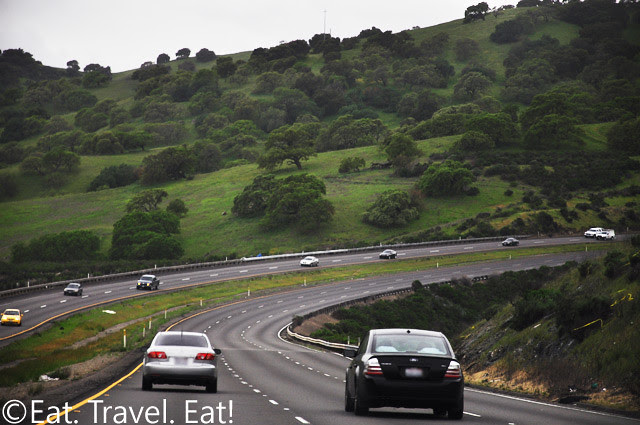 Driving on Highway 152- Winding Roads and Green Hills