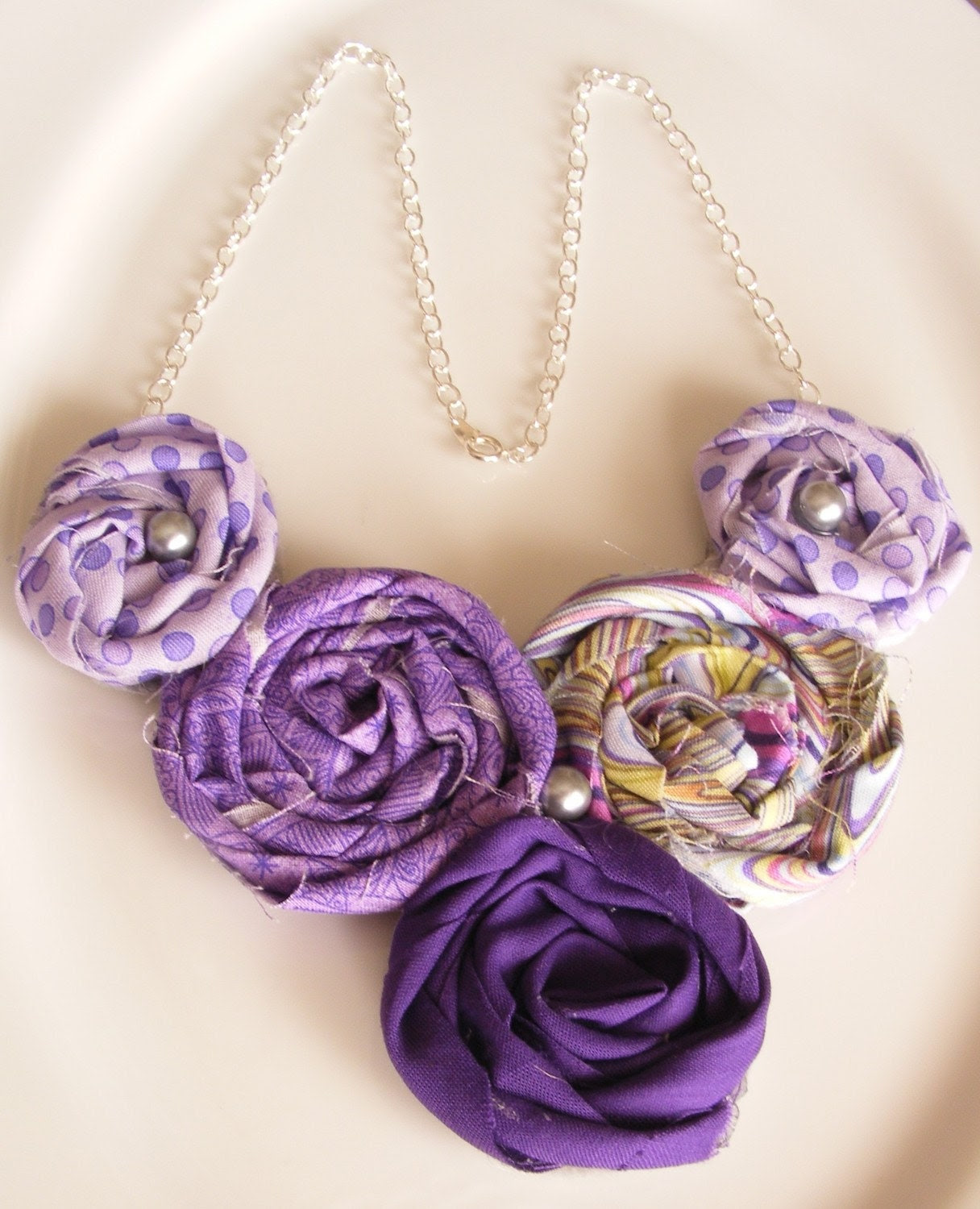 Purple Rosette Necklace