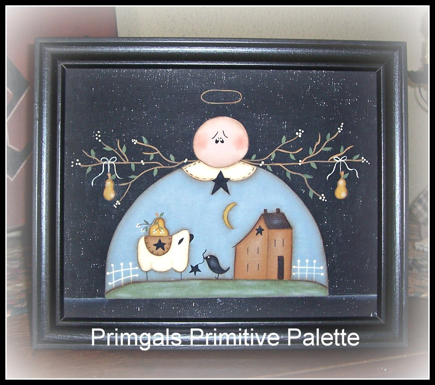 Primitive Angel Picture Saltbox Sheep Canvas Home Decor by Primgal