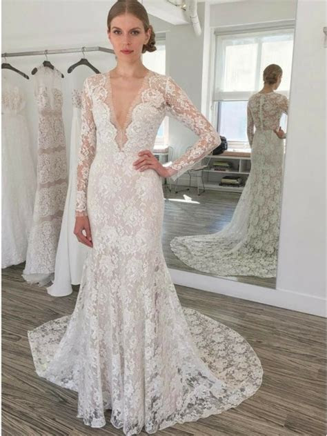buy mermaid deep  neck long sleeves court train lace