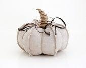 Countryside Rustic Natural Linen Pumpkin, Autumn Harvest, Fall Decor - BailiwickStudio