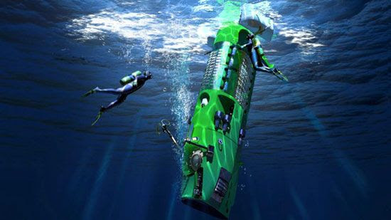 An artist's concept showing the Deepsea Challenger submersible being lowered into the water.