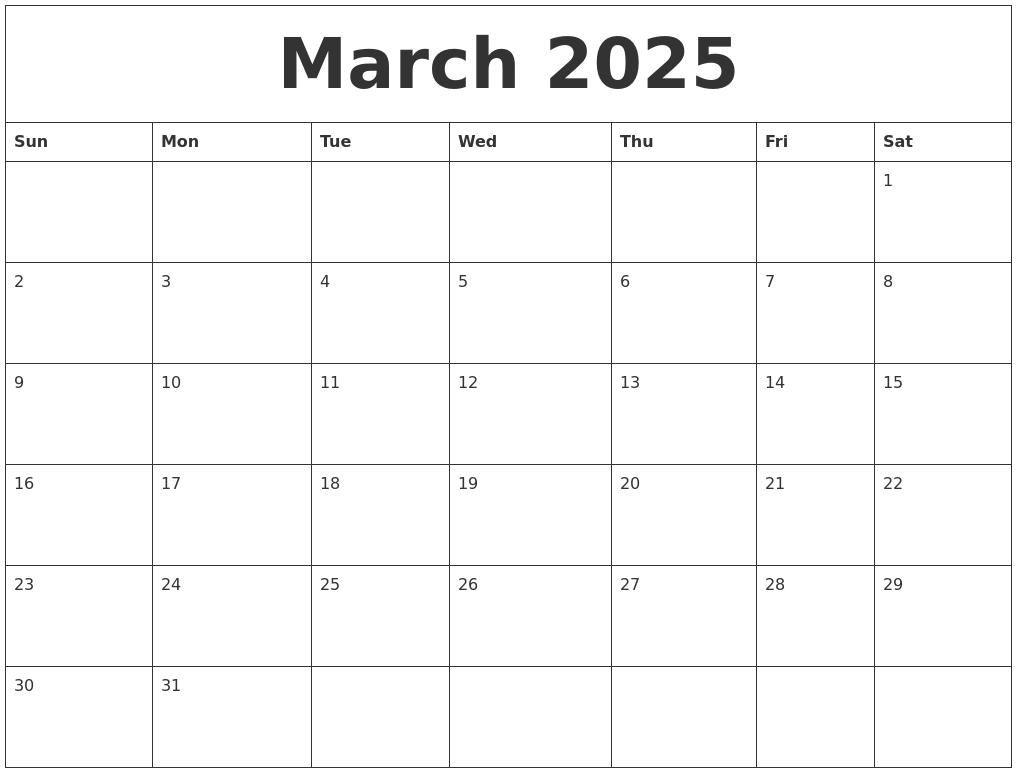 march 2025 free calendar printable